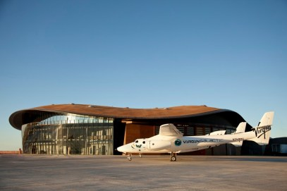 WhiteKnightTwo carrier aircraft, VMS Eve on tarmac at Spaceport America, Virgin Galactic's Gateway to Space